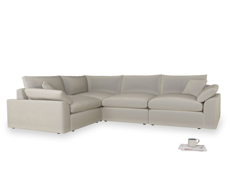 Large left hand Cuddlemuffin Modular Corner Sofa in Smoky Grey clever velvet