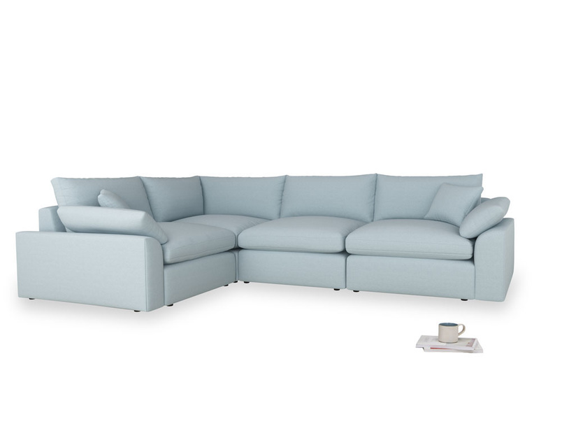 Large left hand Cuddlemuffin Modular Corner Sofa in Soothing blue washed cotton linen