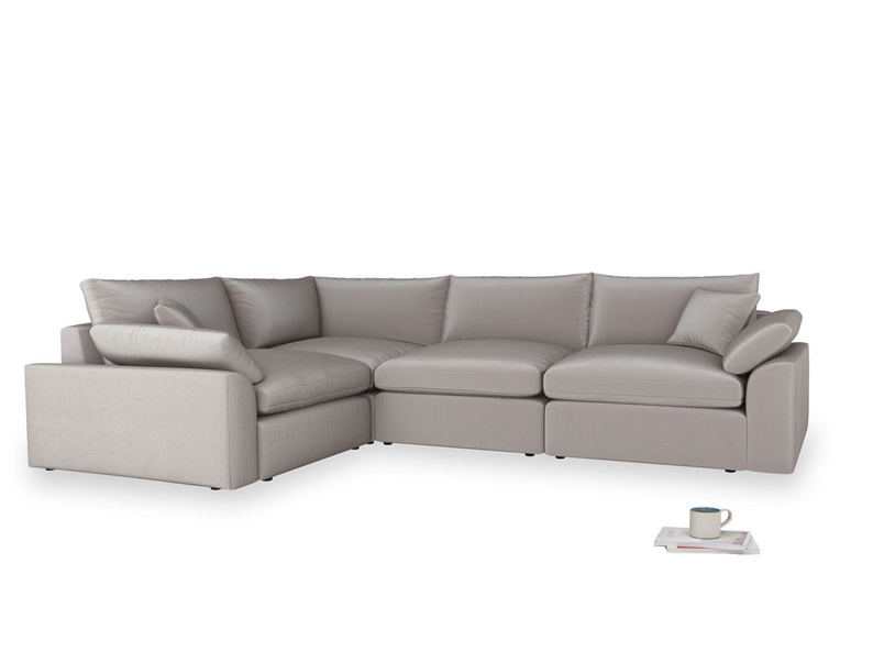 Large left hand Cuddlemuffin Modular Corner Sofa in Soothing grey vintage velvet