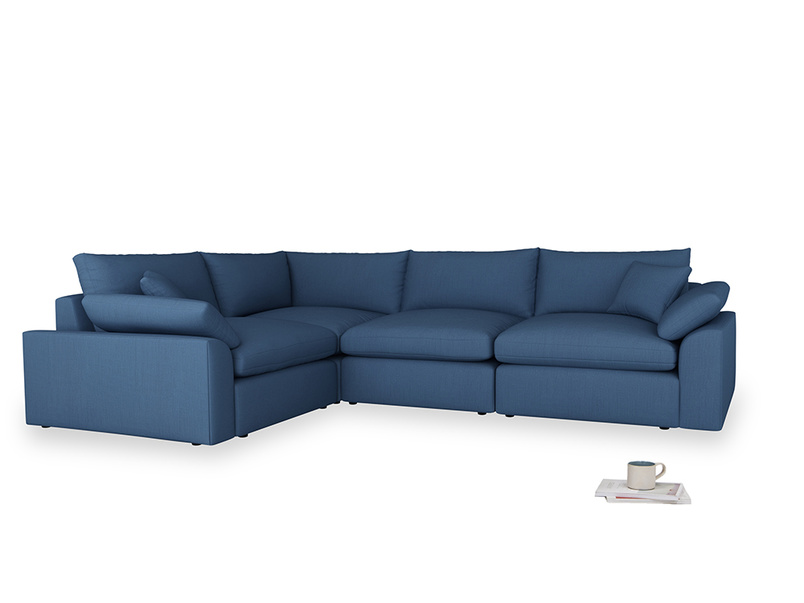 Large left hand Cuddlemuffin Modular Corner Sofa in True blue Clever Linen