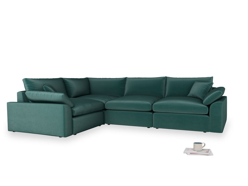 Large left hand Cuddlemuffin Modular Corner Sofa in Timeless teal vintage velvet