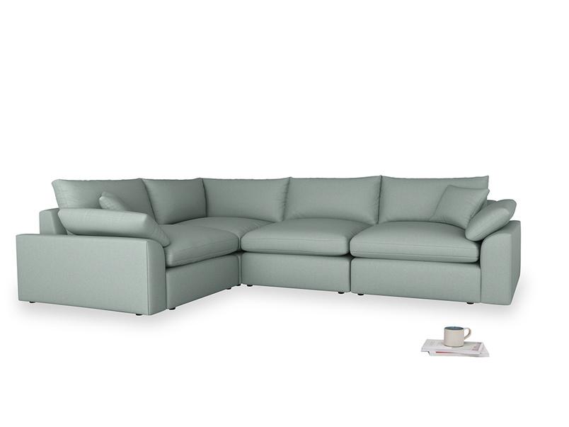 Large left hand Cuddlemuffin Modular Corner Sofa in Sea fog Clever Woolly Fabric
