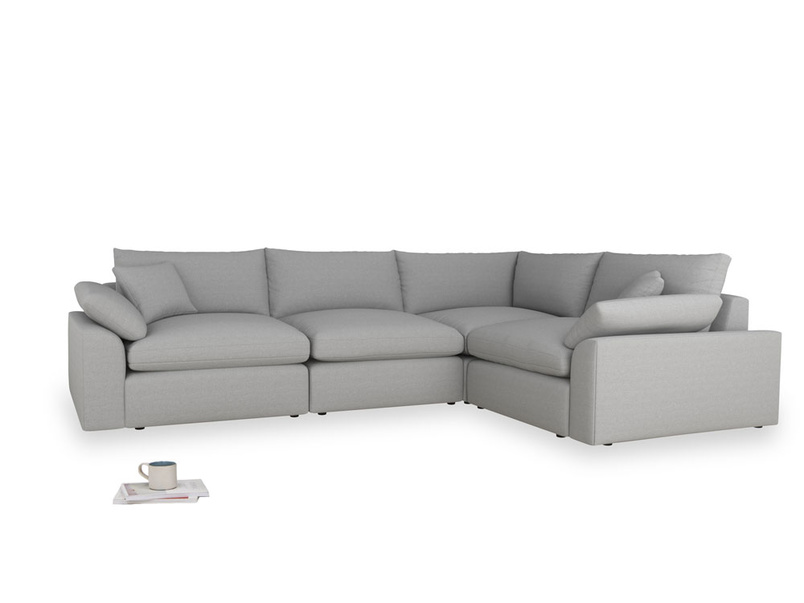 Large right hand Cuddlemuffin Modular Corner Sofa in Magnesium washed cotton linen