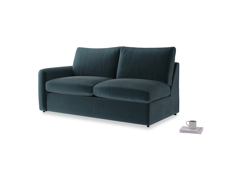 Chatnap Sofa Bed in Bluey Grey Clever Deep Velvet with a left arm
