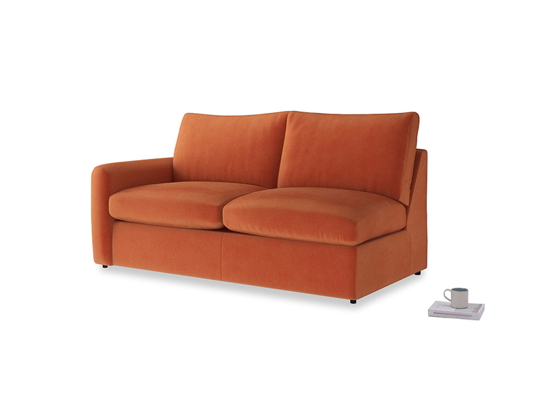 Chatnap Sofa Bed in Old Orange Clever Deep Velvet with a left arm