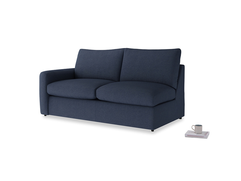 Chatnap Sofa Bed in Night Owl Blue Clever Woolly Fabric with a left arm