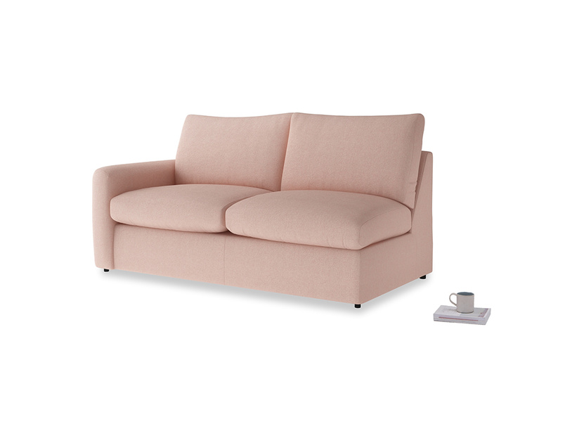 Chatnap Sofa Bed in Pale Pink Clever Woolly Fabric with a left arm