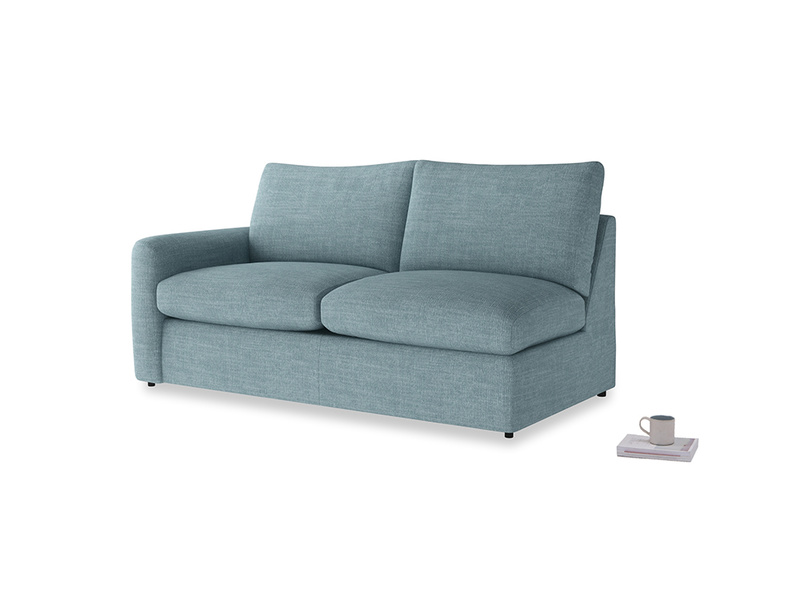 Chatnap Sofa Bed in Soft Blue Clever Laundered Linen with a left arm