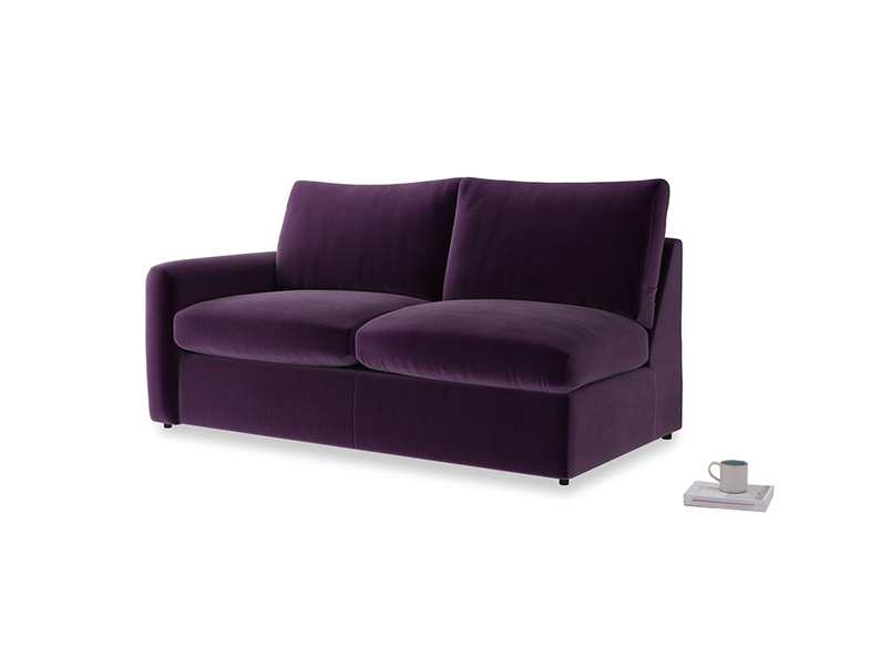 Chatnap Storage Sofa in Deep Purple Clever Deep Velvet with a left arm