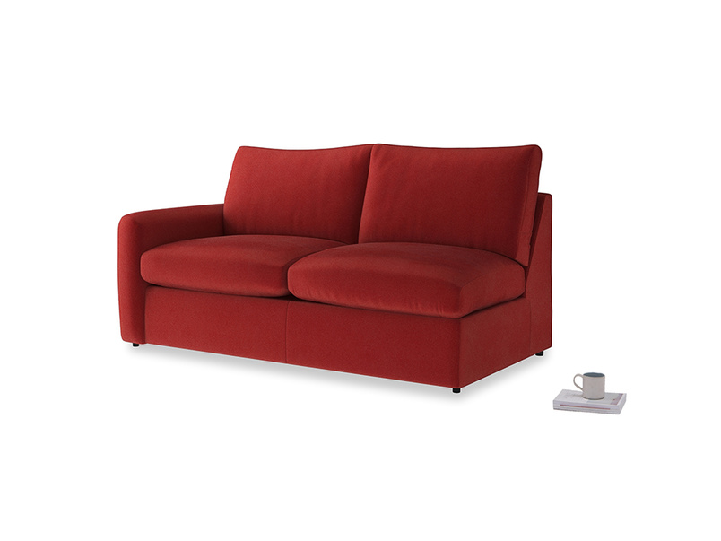 Chatnap Storage Sofa in Rusted Ruby Vintage Velvet with a left arm