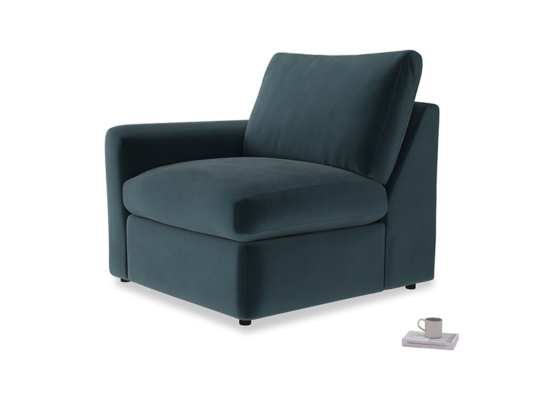 Chatnap Storage Single Seat in Bluey Grey Clever Deep Velvet with a left arm