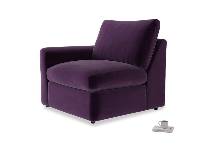 Chatnap Storage Single Seat in Deep Purple Clever Deep Velvet with a left arm