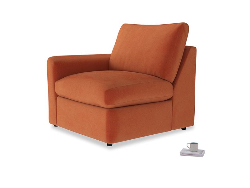 Chatnap Storage Single Seat in Old Orange Clever Deep Velvet with a left arm