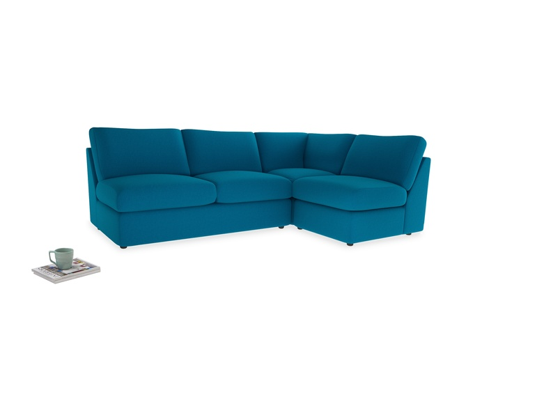 Large right hand Chatnap modular corner sofa bed in Bermuda Brushed Cotton