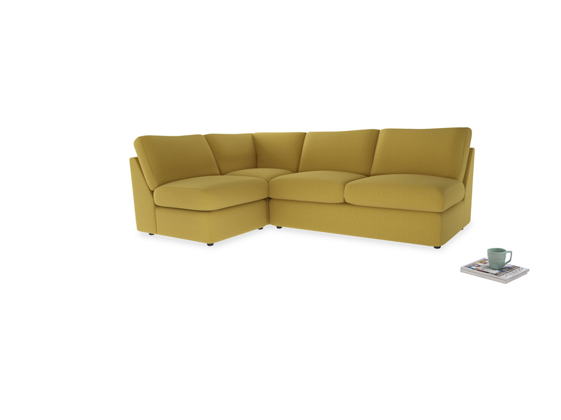 Large left hand Chatnap modular corner sofa bed in Maize yellow Brushed Cotton