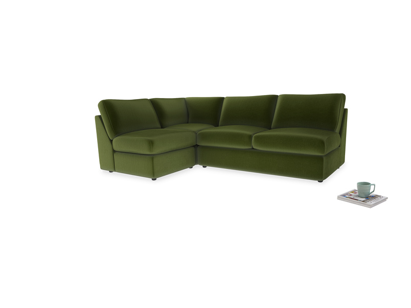 Large left hand Chatnap modular corner sofa bed in Good green Clever Deep Velvet