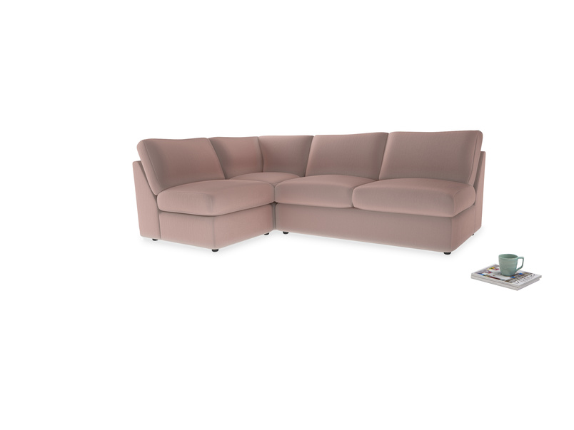 Large left hand Chatnap modular corner sofa bed in Rose quartz Clever Deep Velvet