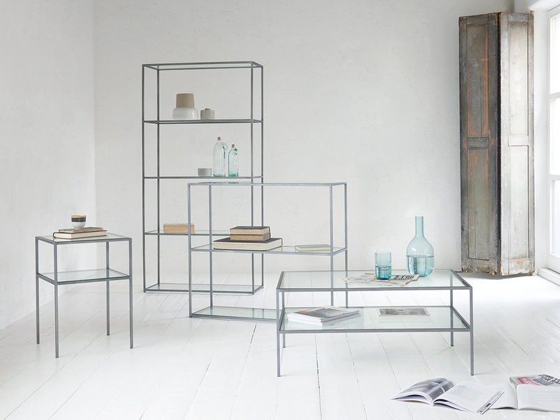 Wolfie glass and metal shelf range