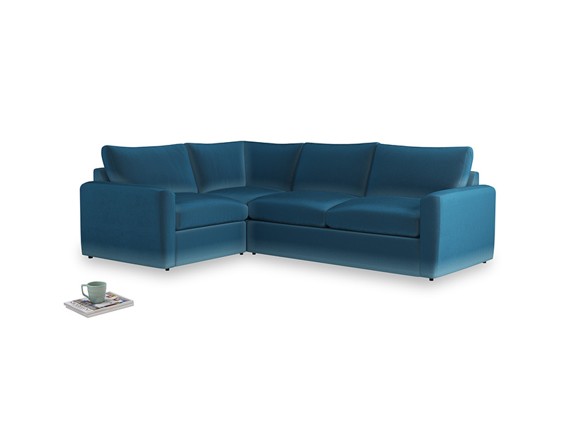 Large left hand Chatnap modular corner sofa bed in Twilight blue Clever Deep Velvet with both arms