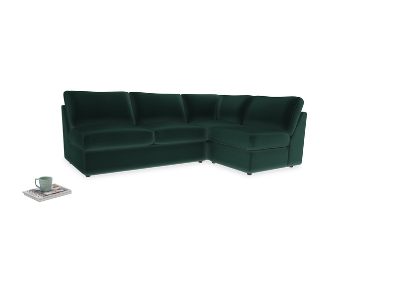 Large right hand Chatnap modular corner sofa bed in Dark green Clever Velvet