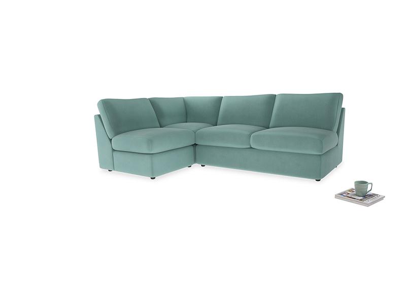 Large left hand Chatnap modular corner sofa bed in Greeny Blue Clever Deep Velvet