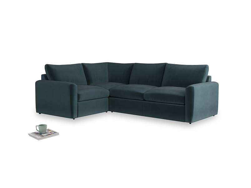 Large left hand Chatnap modular corner sofa bed in Bluey Grey Clever Deep Velvet with both arms