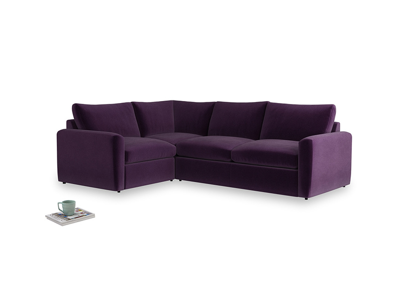 Large left hand Chatnap modular corner sofa bed in Deep Purple Clever Deep Velvet with both arms
