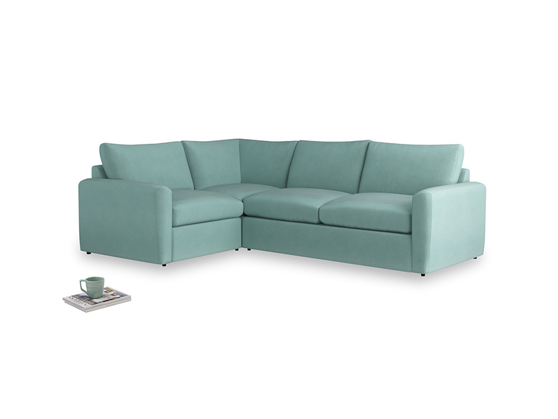 Large left hand Chatnap modular corner sofa bed in Greeny Blue Clever Deep Velvet with both arms