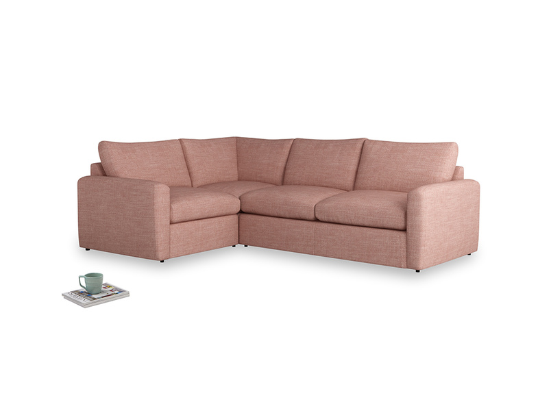 Large left hand Chatnap modular corner sofa bed in Blossom Clever Laundered Linen with both arms