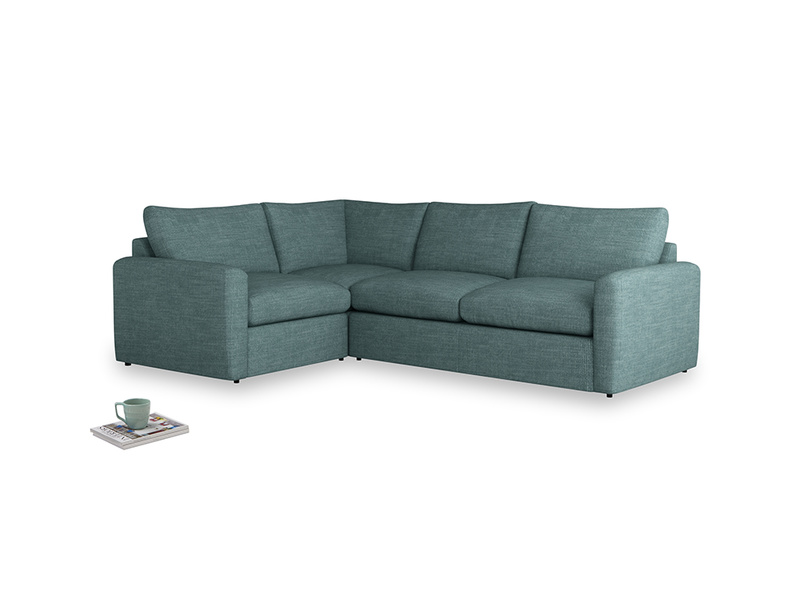 Large left hand Chatnap modular corner sofa bed in Blue Turtle Clever Laundered Linen with both arms