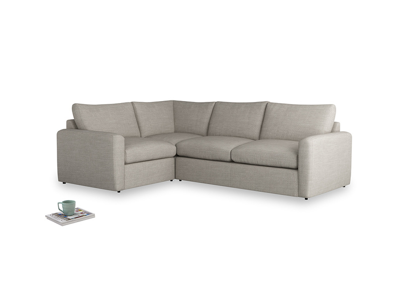 Large left hand Chatnap modular corner sofa bed in Grey Daybreak Clever Laundered Linen with both arms
