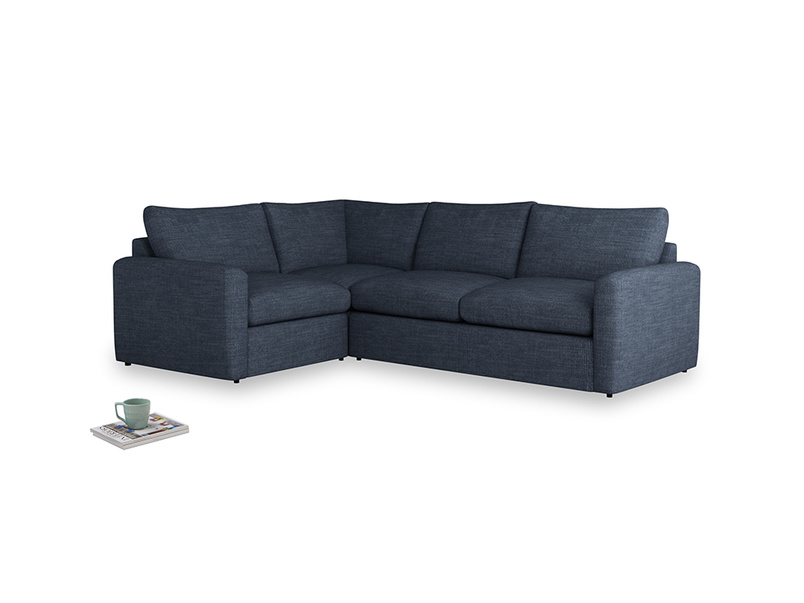 Large left hand Chatnap modular corner sofa bed in Selvedge Blue Clever Laundered Linen with both arms