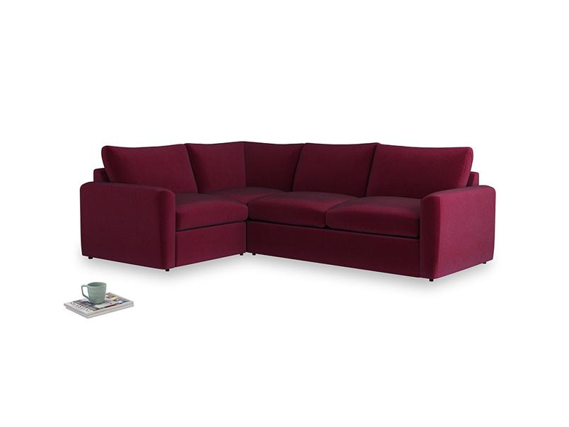 Large left hand Chatnap modular corner sofa bed in Merlot Plush Velvet with both arms