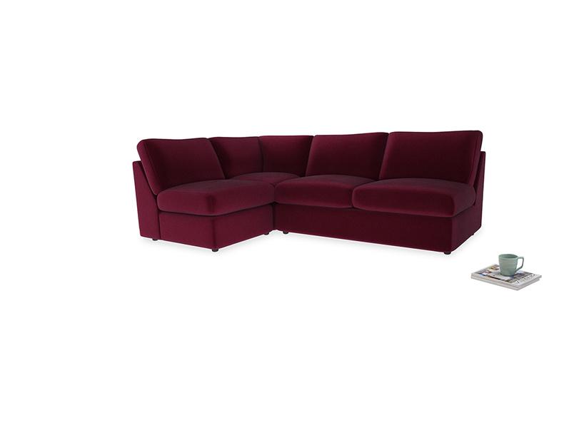 Large left hand Chatnap modular corner sofa bed in Merlot Plush Velvet