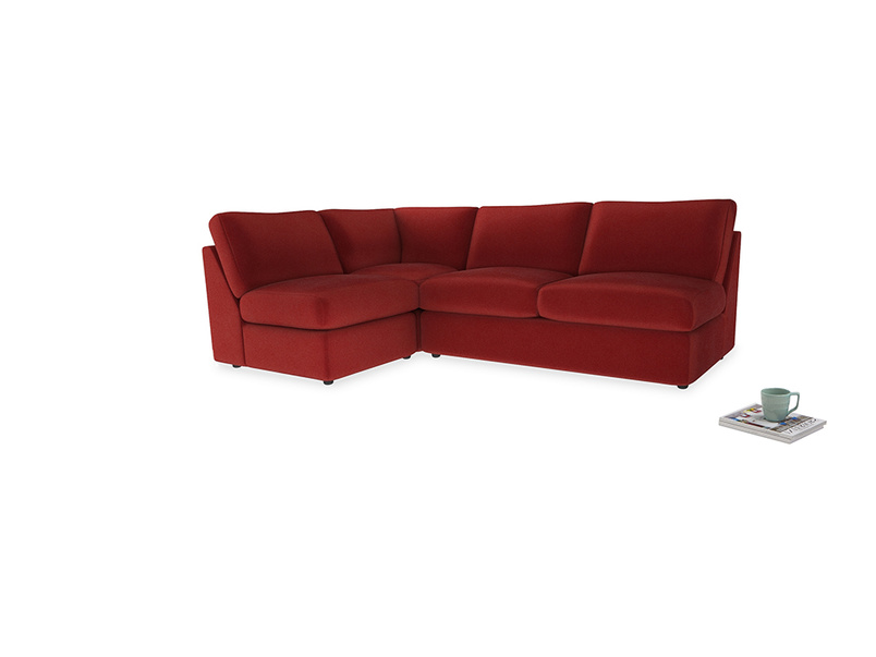 Large left hand Chatnap modular corner sofa bed in Rusted Ruby Vintage Velvet
