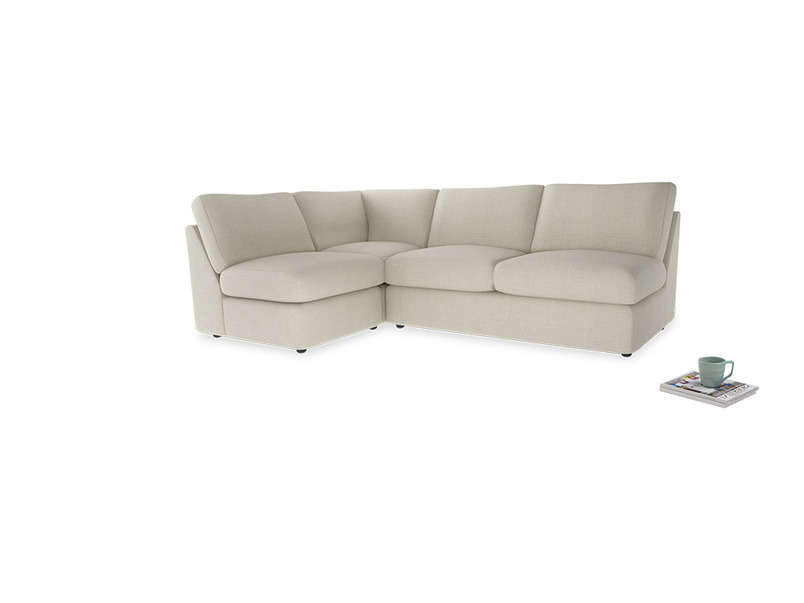 Large left hand Chatnap modular corner sofa bed in Stone Vintage Linen