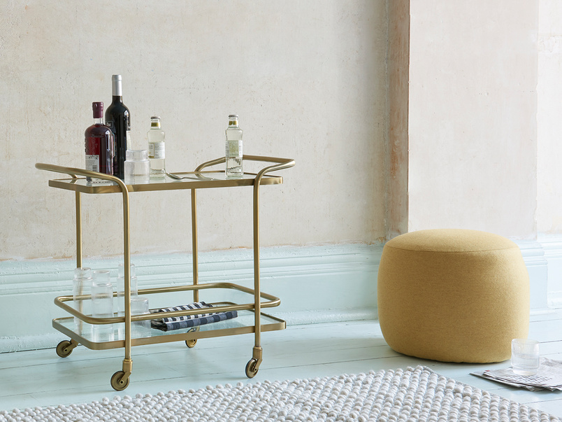 Little Soak vintage brass drinks trolley