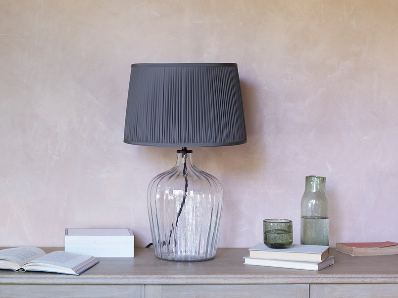 Flute glass table lamp with Graphite pleated shade