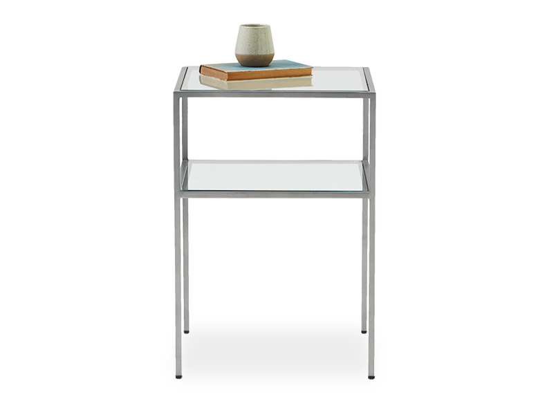 Little Wolfie industrial metal and glass side table