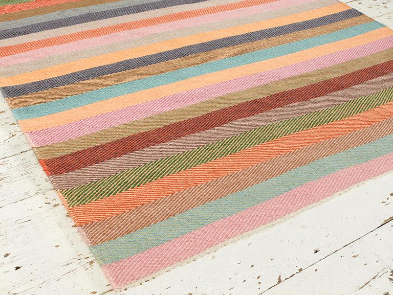 Herringbone Tuppence woven striped handmade rug
