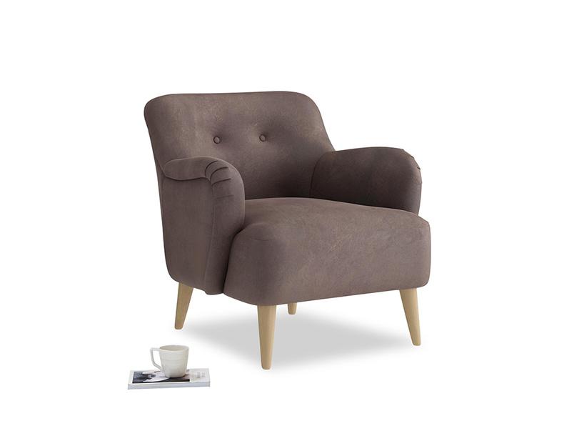 Diggidy Armchair in Dark Chocolate beaten leather