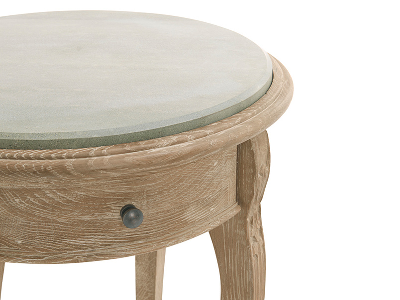 French antique inspired wooden Bella bedside table has a limestone table top