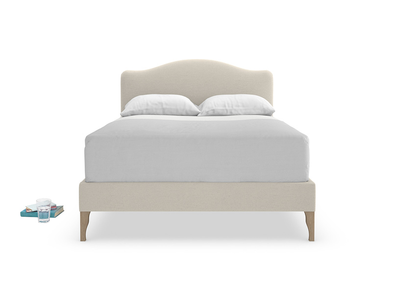 Beautiful Luna upholstered French style bed is handmade in Britain