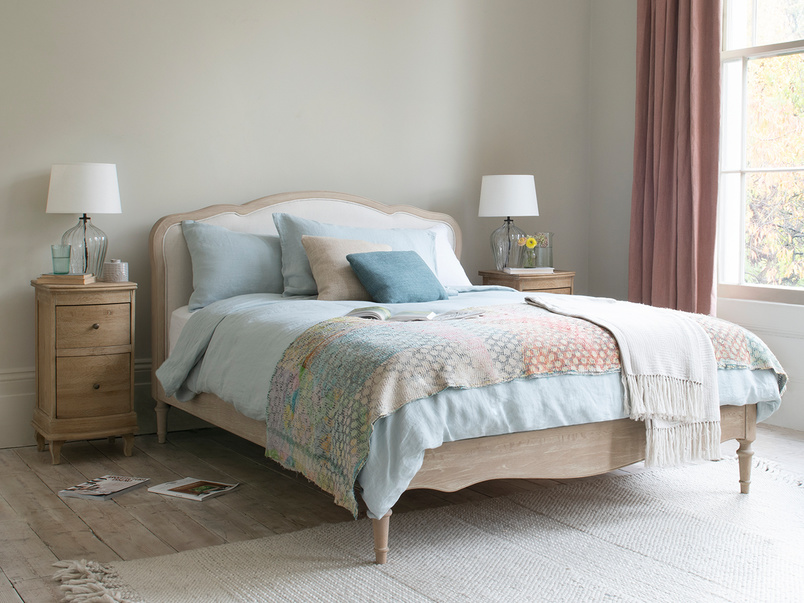 Mirabelle French style wooden upolstered bed