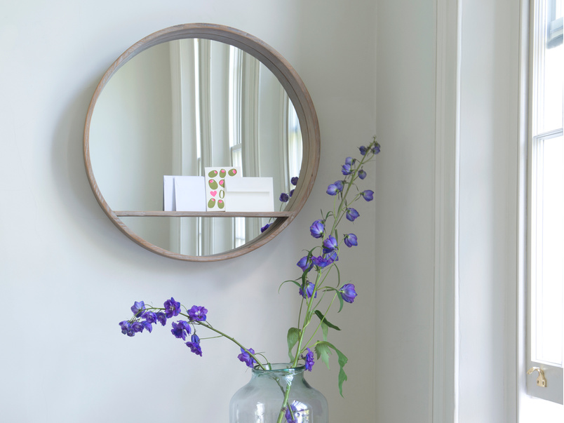 Round wall wooden Hula handmade mirror with shelf