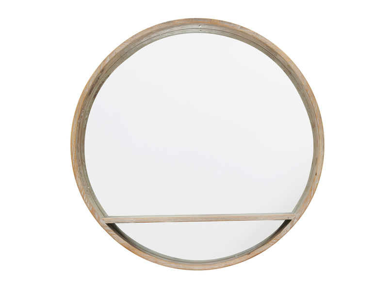 Round wooden Hula handmade wall mirror with shelf