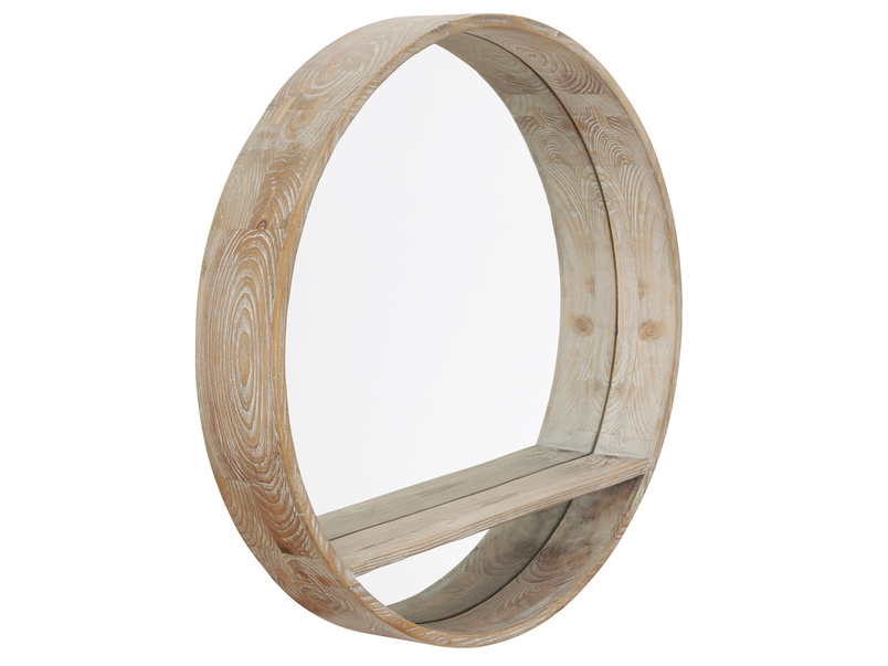 Handmade round wooden Hula wall mirror with shelf