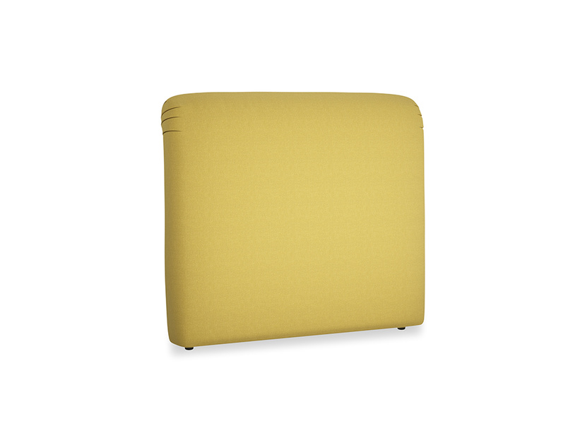 Double Cookie Headboard in Maize yellow Brushed Cotton
