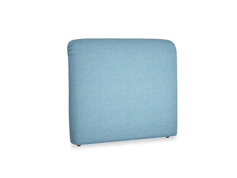 Double Cookie Headboard in Moroccan blue clever woolly fabric