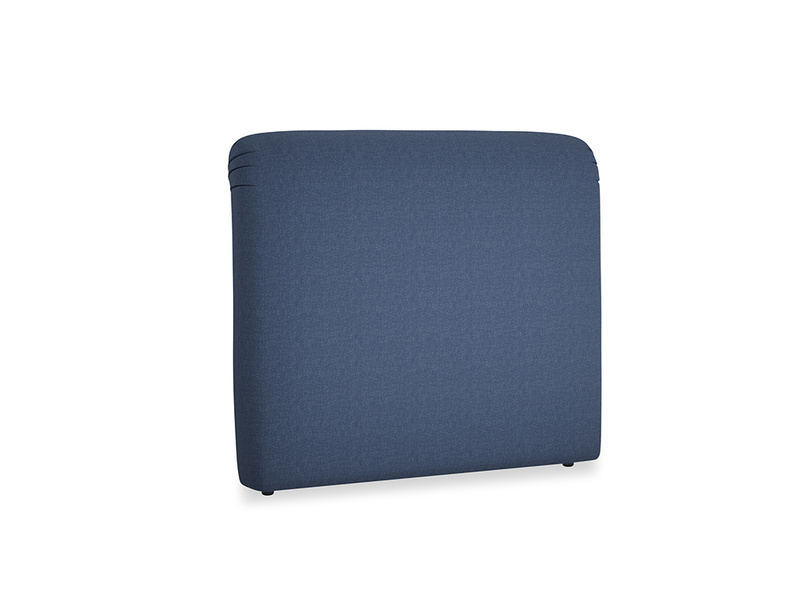Double Cookie Headboard in Navy blue brushed cotton